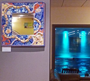 Mosaic Mirror displayed at Nuffield Sports Centre, Brondesbury Rd, London NW6.  (Artist : Debra Collis)